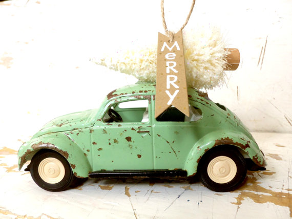 Large Tonka Volkswagen Mint Green Beetle Bug With An Ivory Bottle Brush Tree on Top