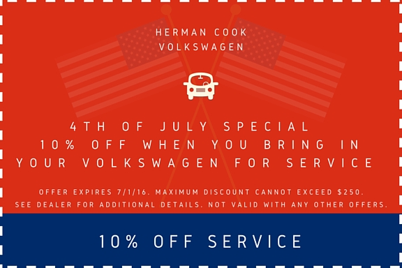 10% Off Service Coupon 4th of July