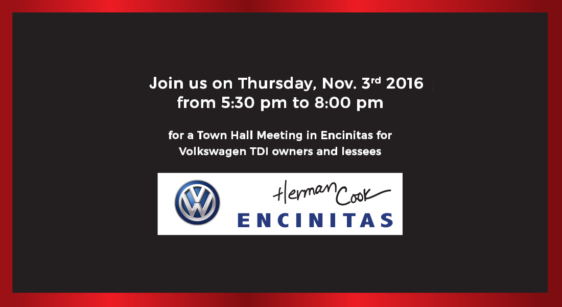 TDI Town Hall Meeting Announcement Cook VW