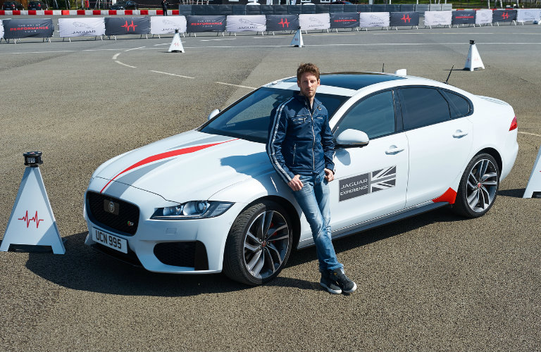 F1 Racer Romain Grosjean Tests Jaguar XF on Smart Cones Driving Challenge