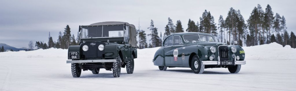 Classic Jaguar and Land Rover Vehicles at Ice Driving School