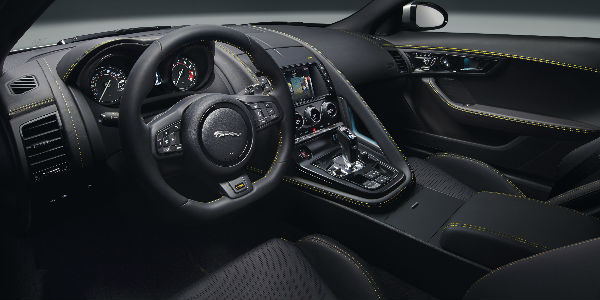 Black 2018 jaguar F-Type 400 Sport Interior with Yellow Accent Stitching