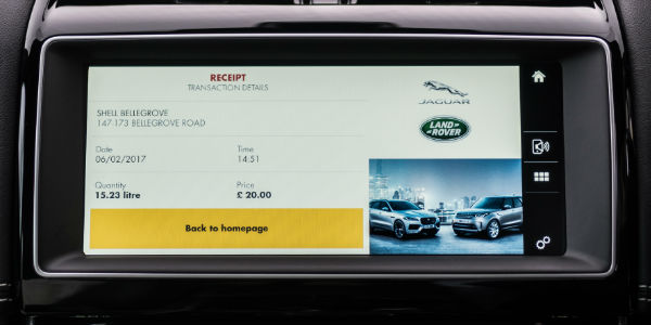 Jaguar Uconnect Touchscreen with Jaguar In-Car Payment App Receipt for Fuel