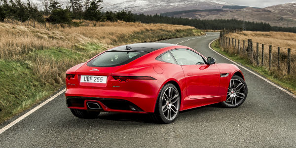 Red 2018 Jaguar F-TYPE Rear Exterior on Country Road