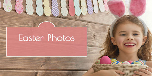 Little Girl with bunny Ears and Esater Basket in Front of Wood Background