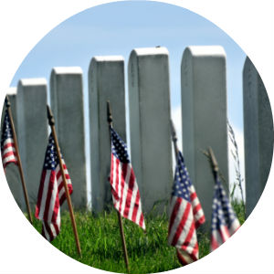 Military Headstones on Memorial Day with Small American Flags