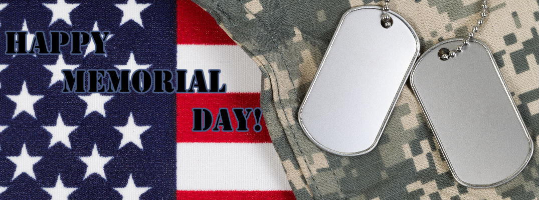 American Flag, Army Camouflage and Dog Tags with Happy Memorial Day Banner