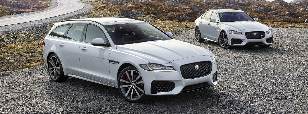 White 2018 Jaguar XF Sportbrake Wagon with White 2018 jaguar XF on parking lot next to highway