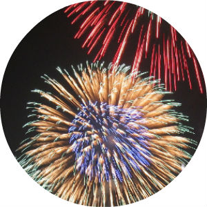 Red, White and Blue Fireworks in Night Sky