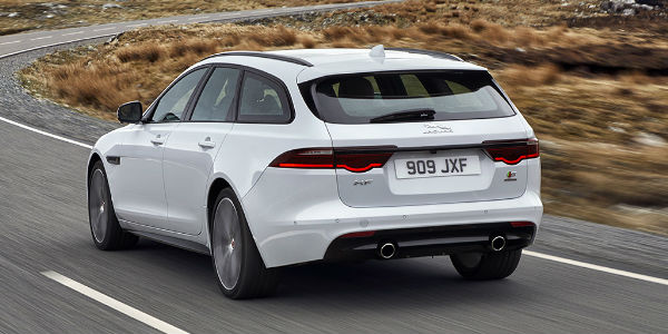 White 2018 jaguar XF Sportbrake Rear Exterior on Highway