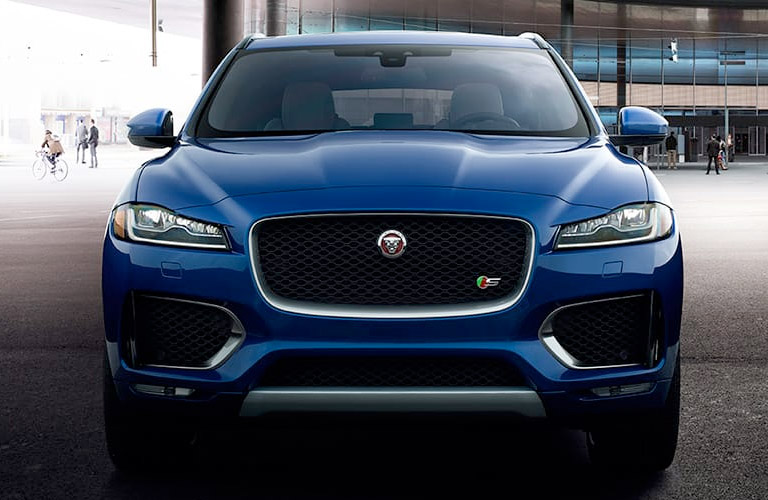 Blue 2018 Jaguar F-PACE Front Exterior on City Street