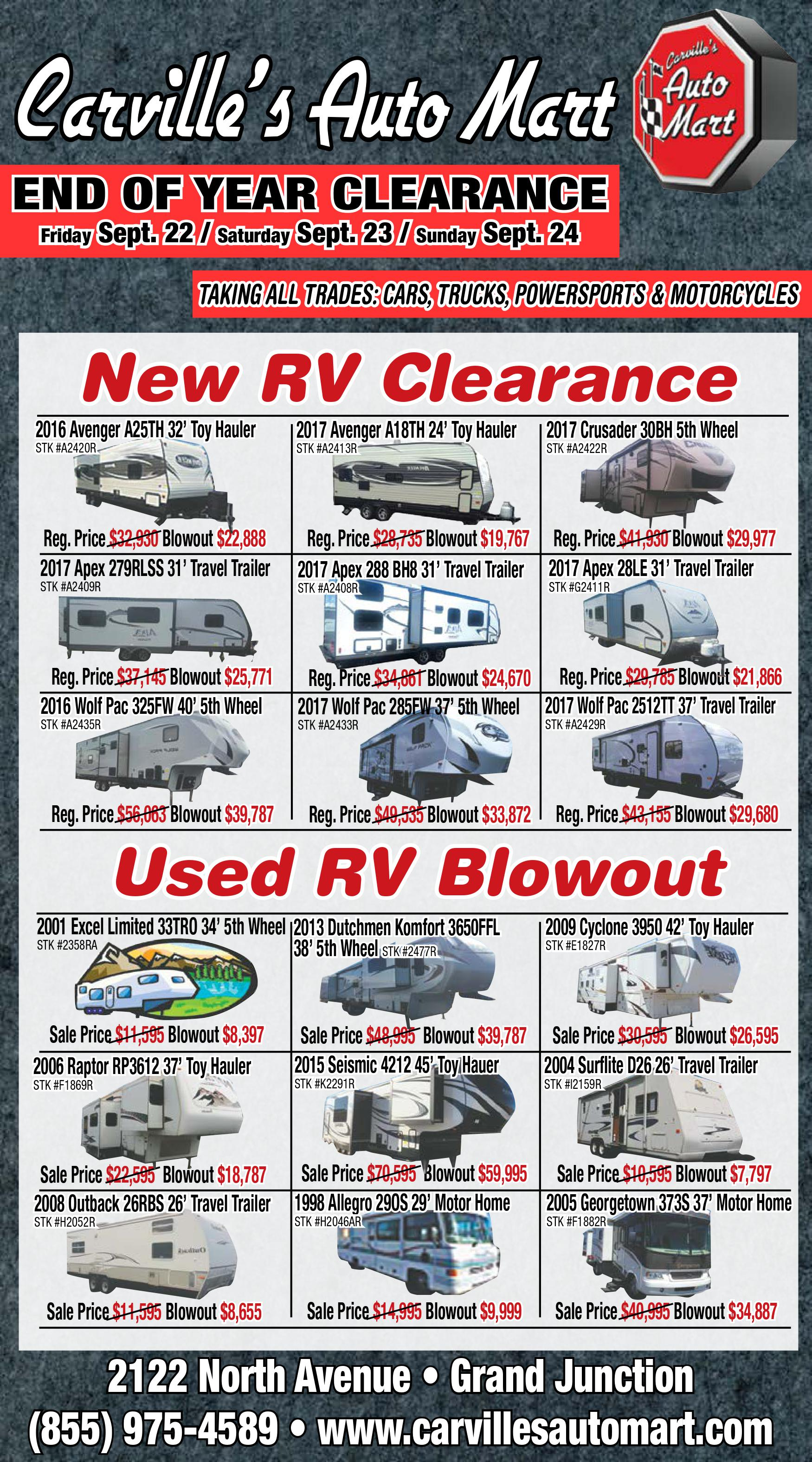 Car Clearance Deals 2016 >> End Of Year Clearance Features Blowout Prices On New Used Rvs