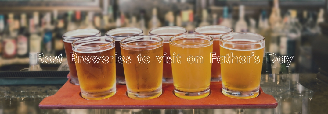 Best breweries to visit on Fathers Day in front of a flight of craft beer