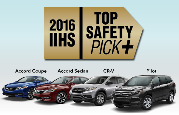 4 honda models earn 2016 top safety pick rating from iihs. Black Bedroom Furniture Sets. Home Design Ideas