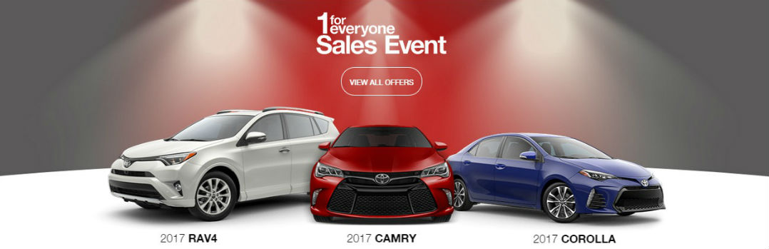 Toyota 1 for Everyone sales event 2017 Corolla Camry RAV4 Lafayette IN