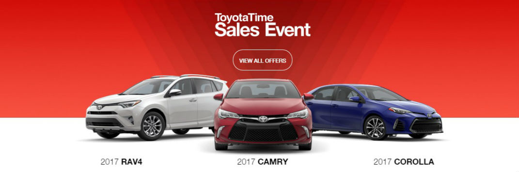 ToyotaTime sales event 2017 RAV4 Corolla Camry specials and incentives Lafayette IN