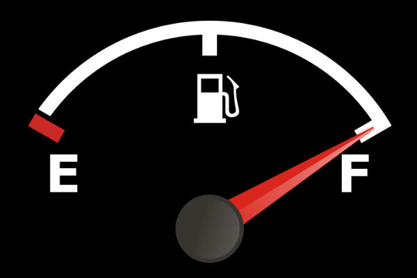 Fuel Gauge on Black Background on Full  sc 1 st  Downeast Toyota & How Far Can Your Toyota Drive with the Fuel Light On?