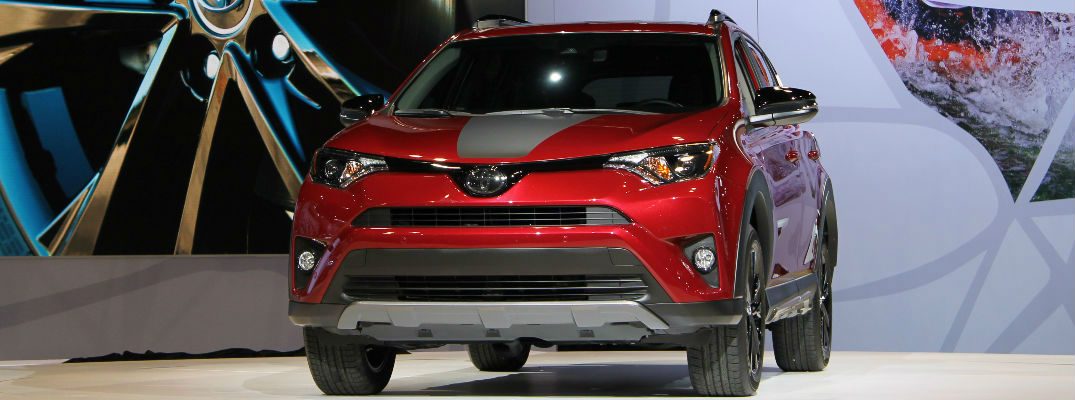 REd and Black 2018 Toyota RAV4 Adventure on Stage at 2017 Chicago Auto Show