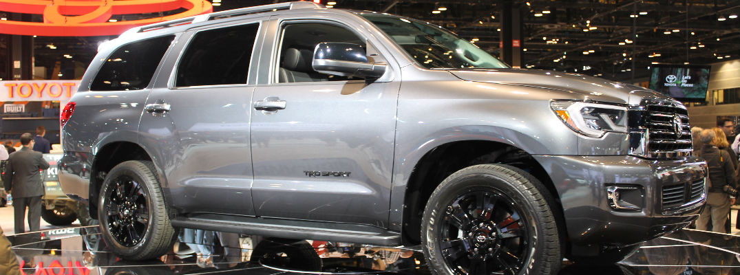 Silver 2018 Toyota Sequoia TRD Sport Front and Side Exterior on stage at 2017 CAS
