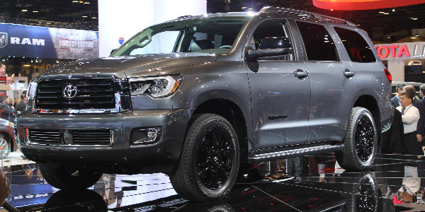 Gray 2018 Toyota Sequoia TRD Sport on Stage at 2017 Chicago Auto Show Debut