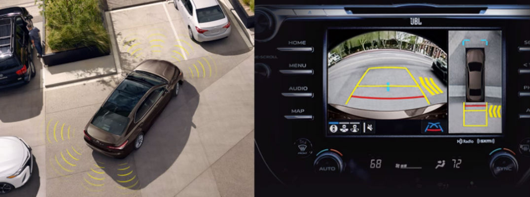 Image of Intelligent Clearance Sonar in parking lot and camera view with Rear Cross Traffic Braking