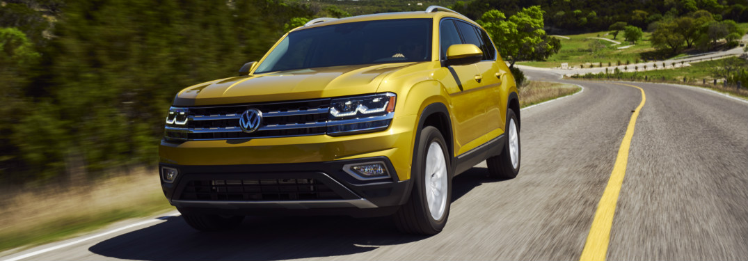 2018 VW Atlas driving down highway exterior front view