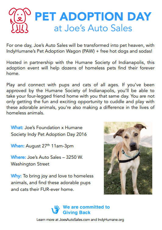 Poster by Joe's Auto Sales with Additional Information about Pet Adoption Day Event