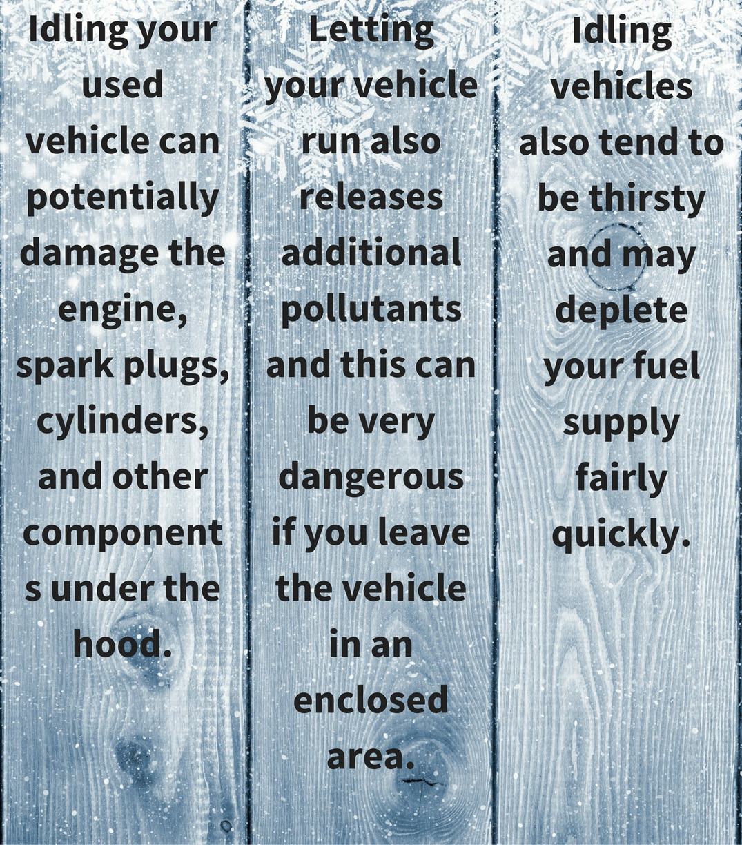 Infographic about warming used vehicles in the cold
