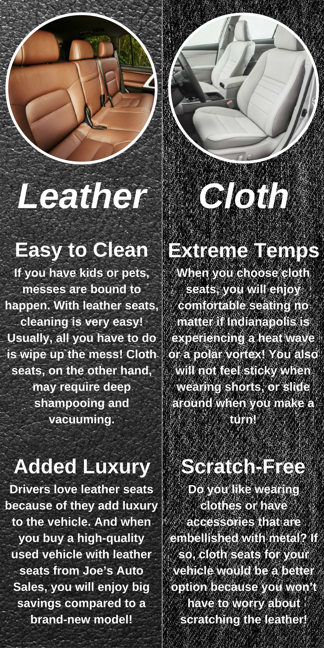 infographic that explains pros and cons of leather and cloth seats