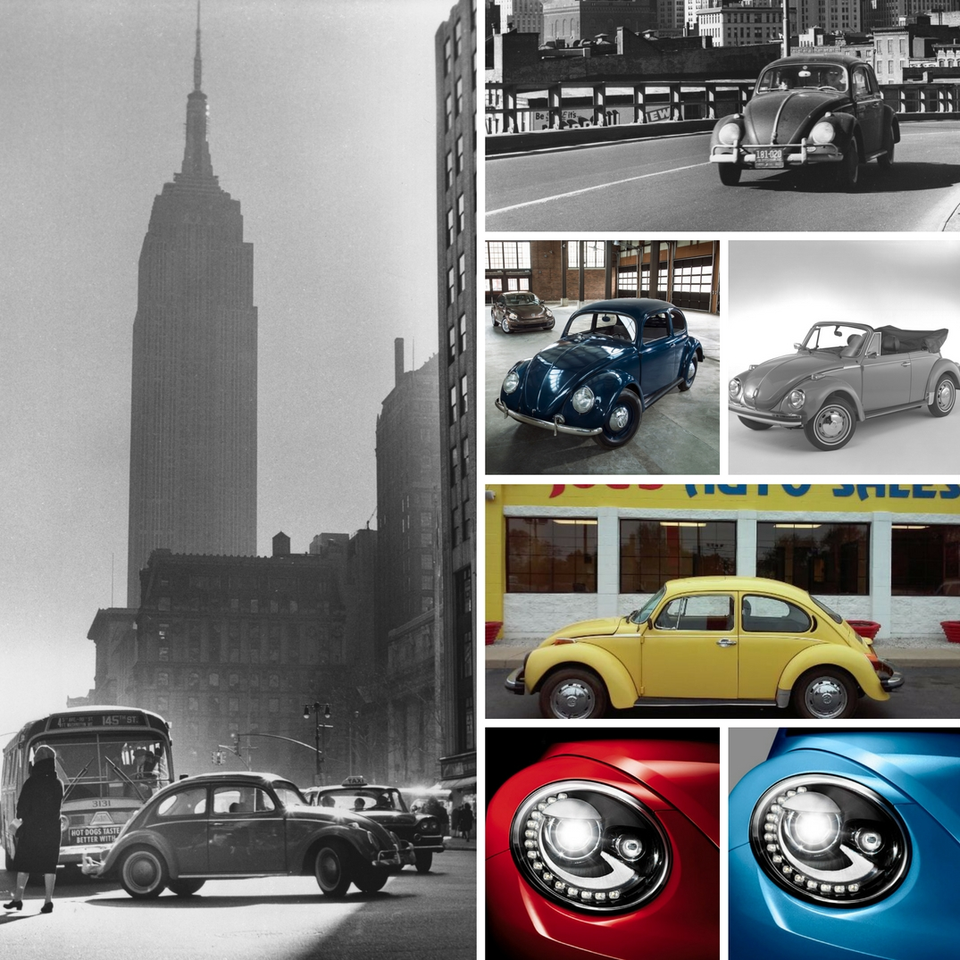 Collage of Volkswagen Beetles over the years
