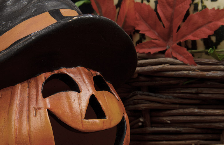pumpkin with hat halloween leaves