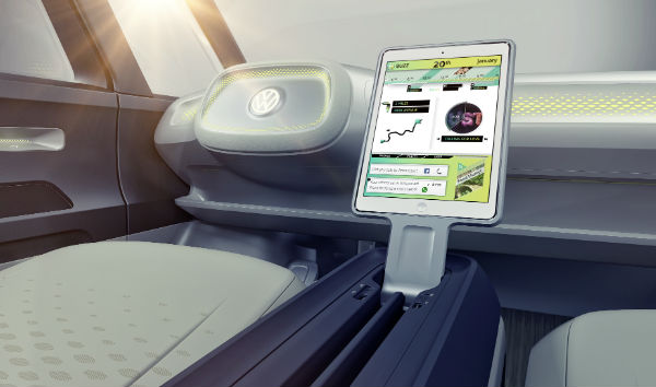 id buzz concept volkswagen interior touchscreen dashboard