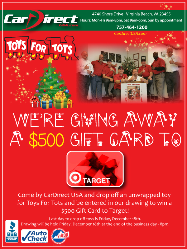 Win By Donating To Toys For Tots Car Direct Llc