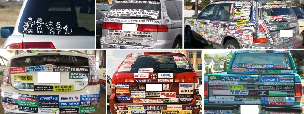 BUMPER STICKERS ARE EVERYWHERE!