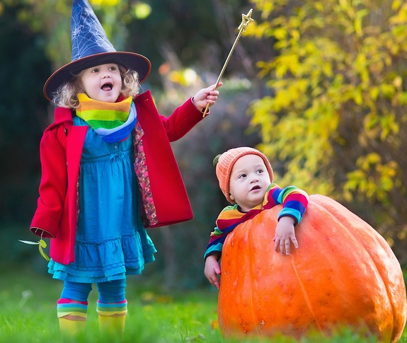 Children Dressed up in Halloween Costumes