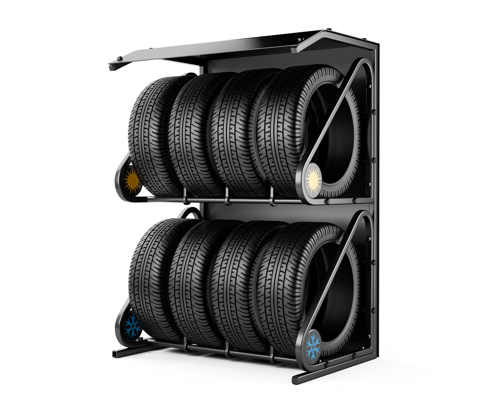 Winter Tires on a Rack