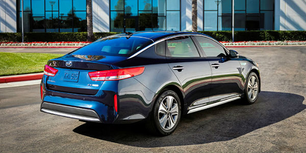 Exterior View of the 2017 Kia Optima Hybrid Tail End View in Black