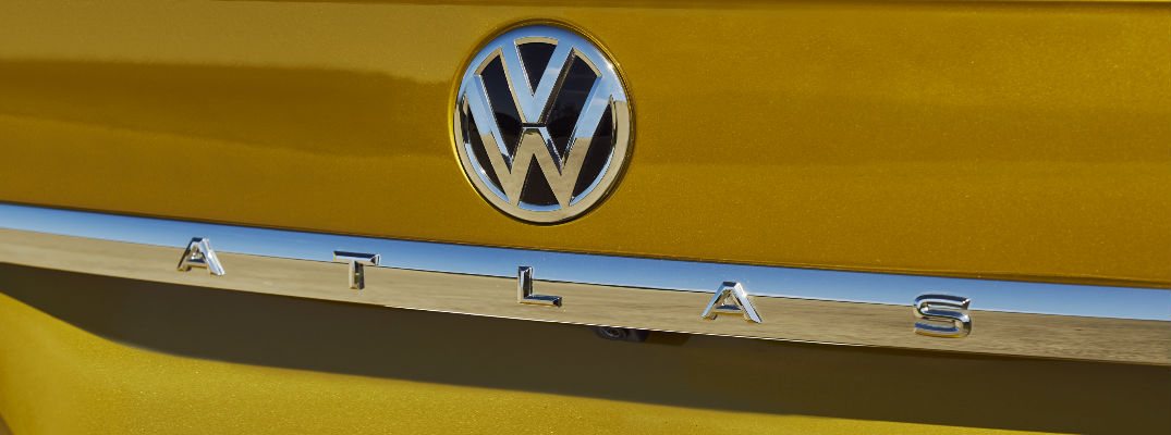 Close Up of 2018 VW Atlas Rear Badge on Yellow Exterior