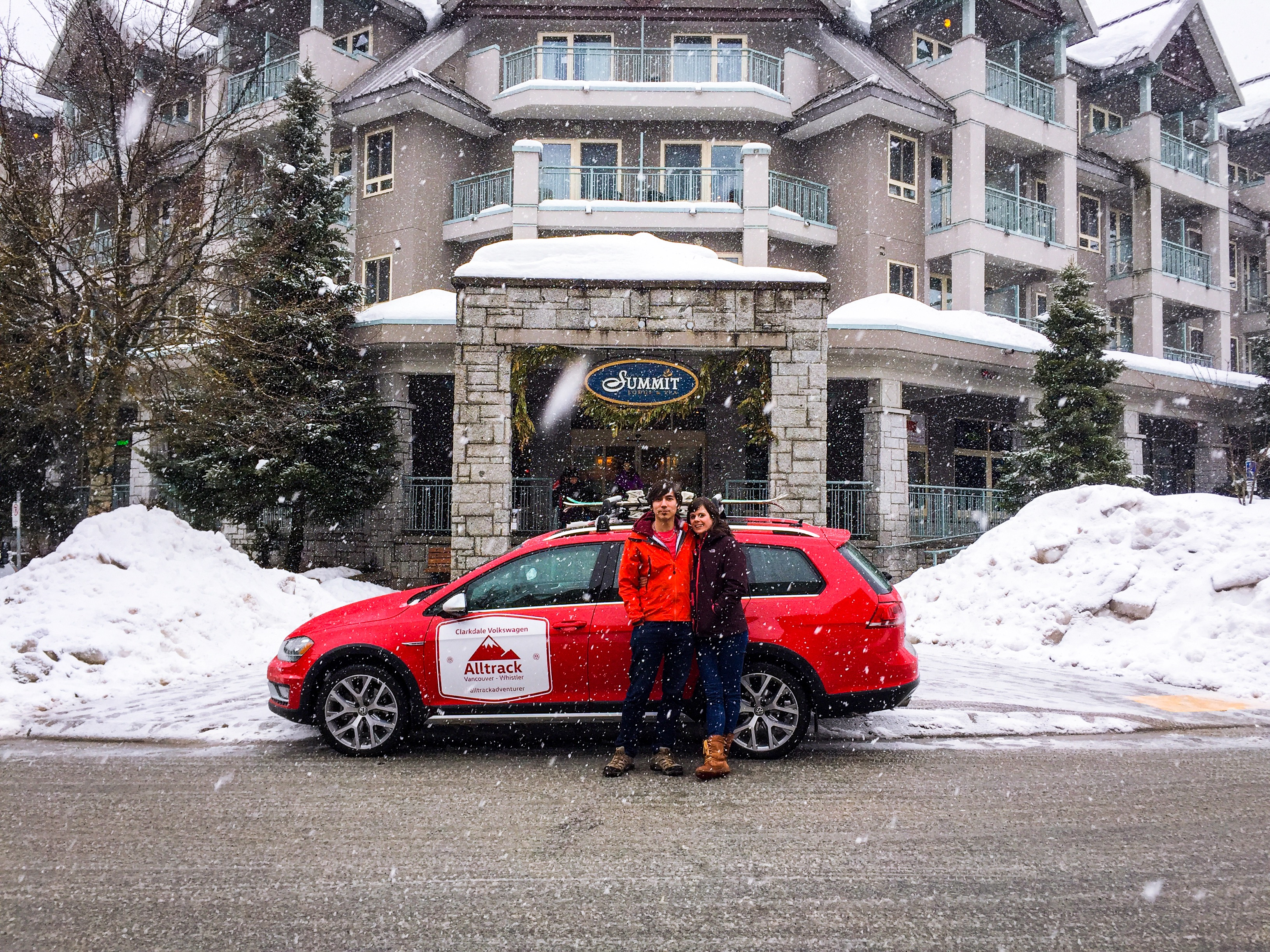 Mike and Stéphanie, winners of the Alltrack Weekend Contest arrive in snowy Whistler.