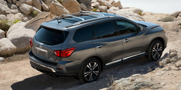 Exceptional Gray 2017 Nissan Pathfinder Rear Exterior On Rocky Trail. Nissan All Mode  4x4 I 4WD ...