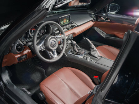 interior design and features in the 2017 mazda mx-5 miata rf