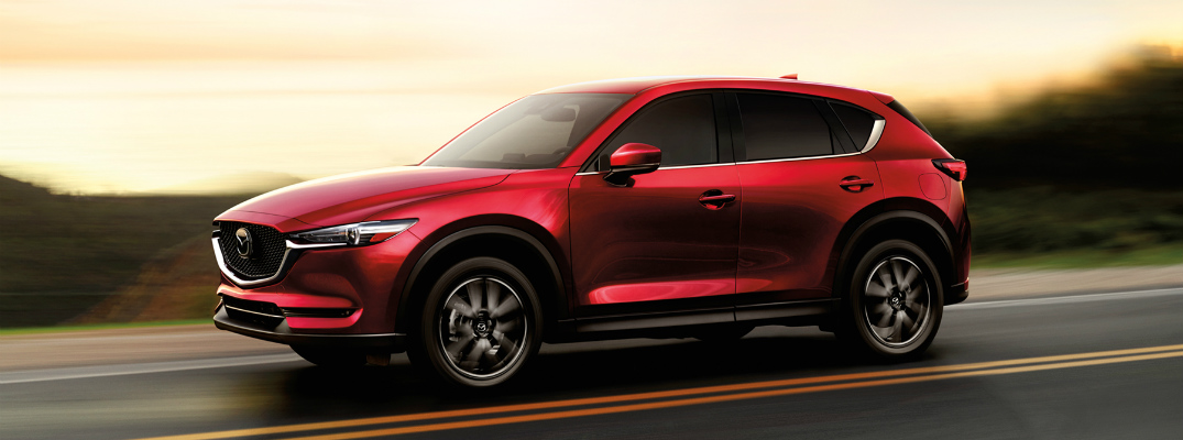2017 mazda cx-5 in red on the road