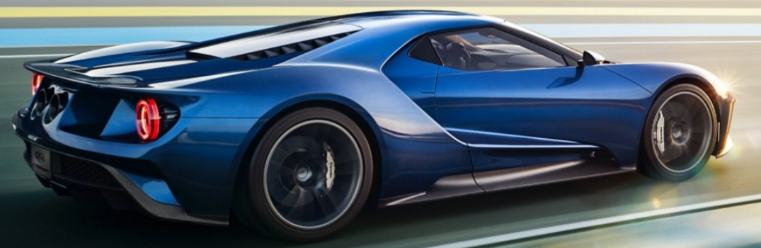 Exterior of a blue 2017 Ford GT