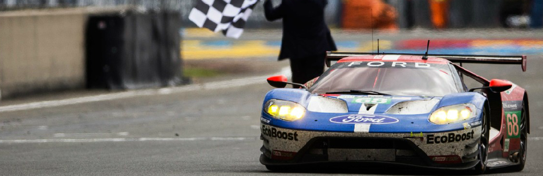 Ford GT Taking the Checkered Flag at 24 Hours of Le Mans Race