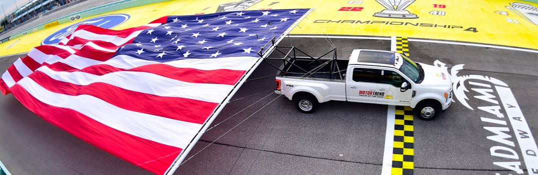Ford Super Duty Pulling a Flag