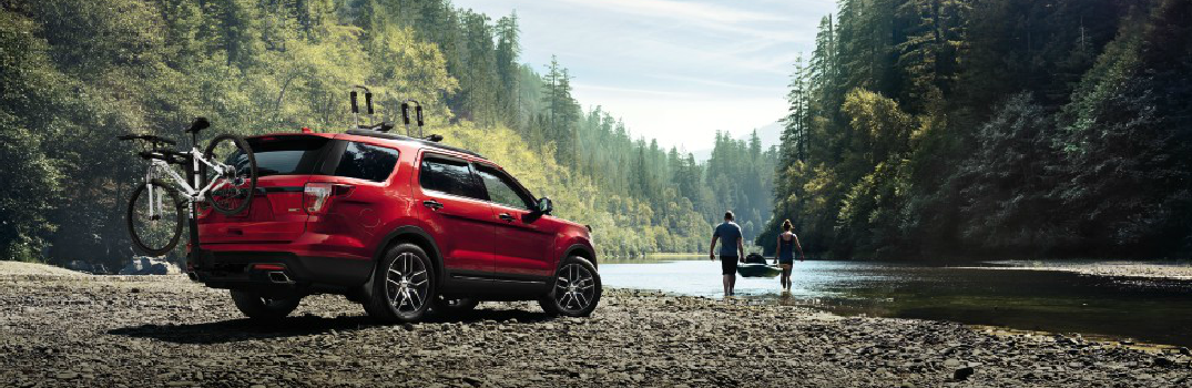 Red 2017 Ford Explorer Parked by a Lake