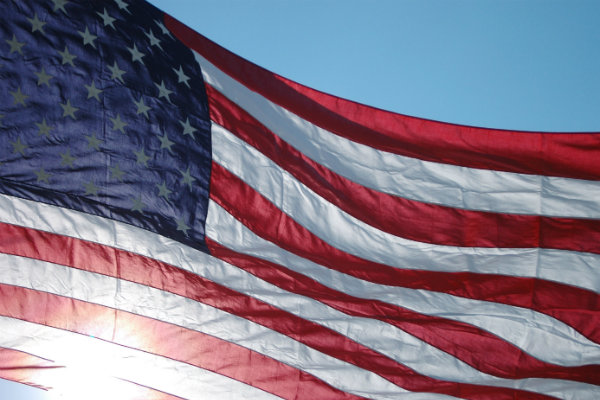 Old Glory waving against the sky