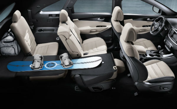 2017 kia sorento seating configurations cargo space