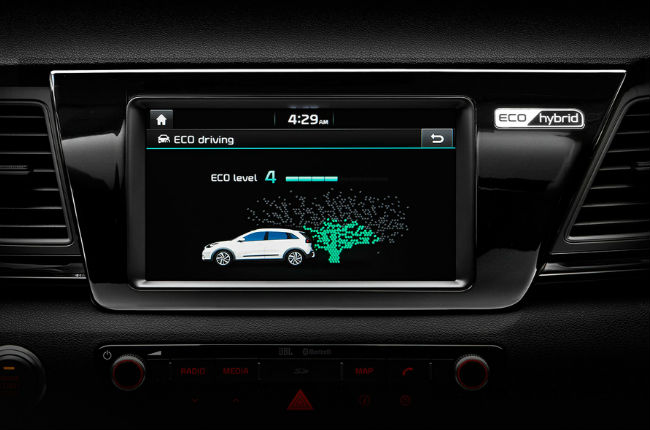 2017 kia niro fuel efficieny eco display