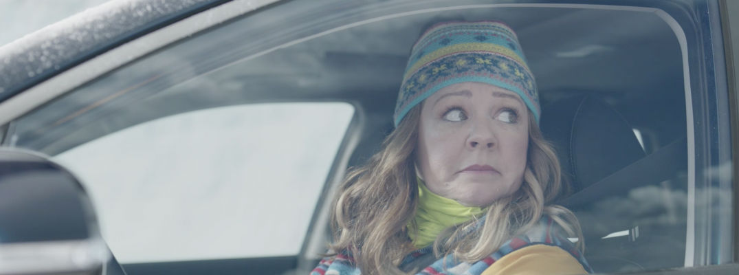 Actress Melissa McCarthy in Driver's Seat of 2017 Kia Niro for Super Bowl Commercial